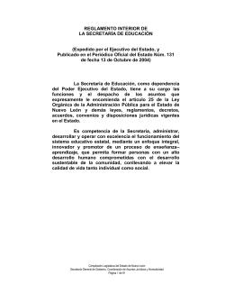 reglamento interior de la secretaría de educación