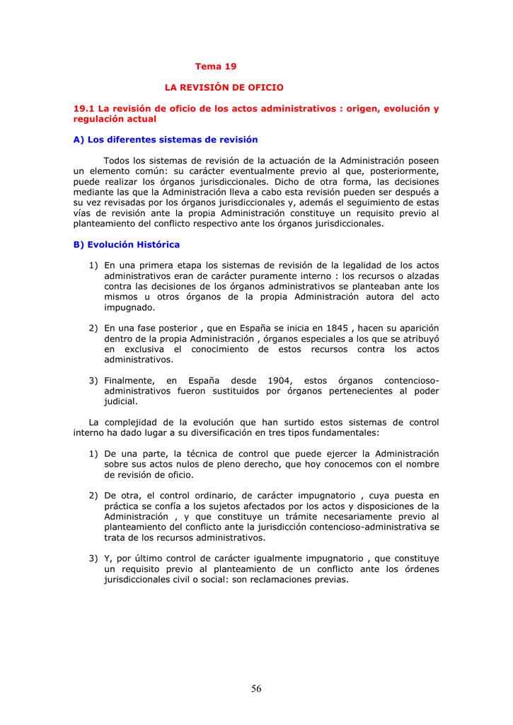 oficio actos en administrativos españa los de revision