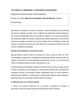 LECTURA Nº 8: URBANIDAD Y CONVIVENCIA EN SOCIEDAD