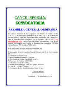 CAYCE INFORMA: CONVOCATORIA ASAMBLEA GENERAL ORDINARIA