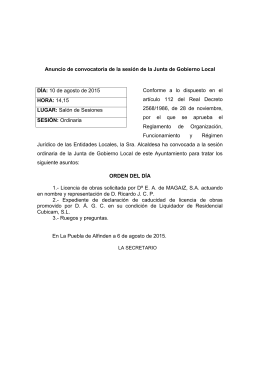 Convocatoria Junta Gobierno Local ordinaria