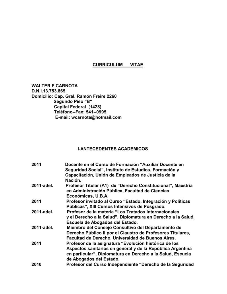 CURRICULUM VITAE WALTER F.CARNOTA D.N.I.13.753.865