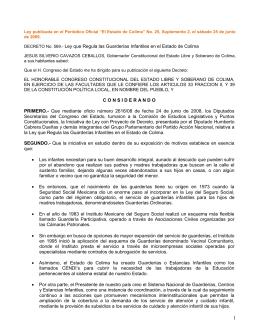 Ley que Regula las Guarderías Infantiles en el Estado de Colima