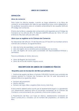 LIBROS DE COMERCIO - Cámara de Comercio de Cali