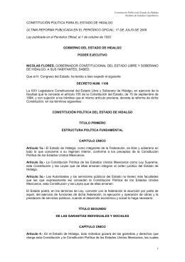 constitución politica del estado de hidalgo 2006
