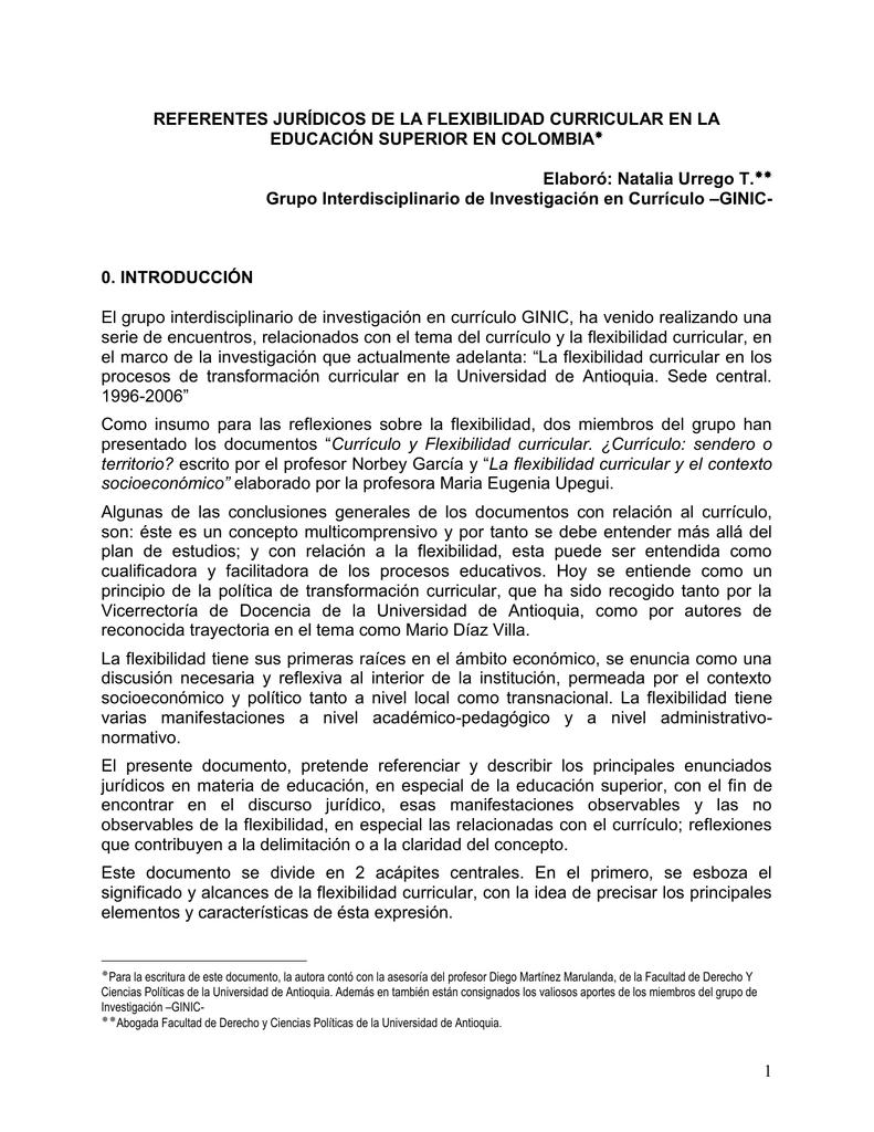 referentes jurídicos de la flexibilidad curricular en la educación