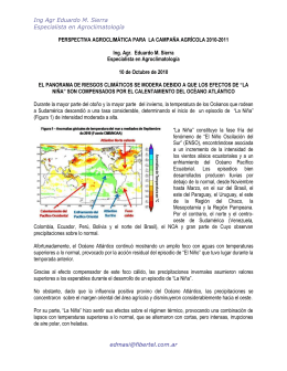 Ing Agr Eduardo M. Sierra Especialista en Agroclimatología