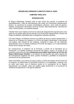 SEGURO MULTIRRIESGO CLIMATICO PARA EL AGRO