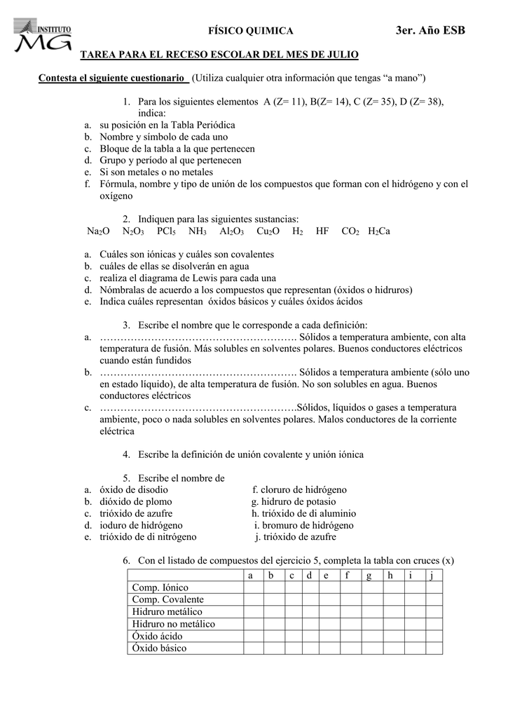 fsico quimica 2do institutomgeduar - Tabla Periodica De Lewis Completa