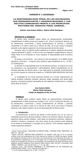 La Responsabilidad Penal de las Sociedades, sus representantes y
