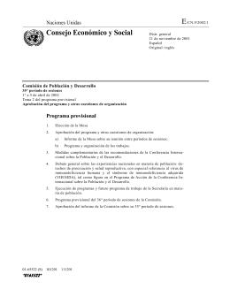 E Consejo Económico y Social Naciones Unidas Comisión de Población y Desarrollo