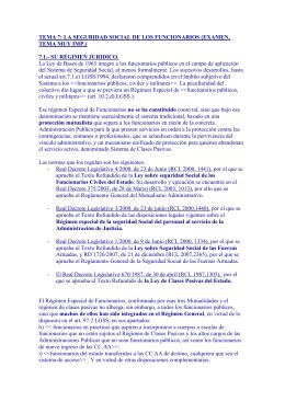 TEMA 7: LA SEGURIDAD SOCIAL DE LOS FUNCIONARIOS