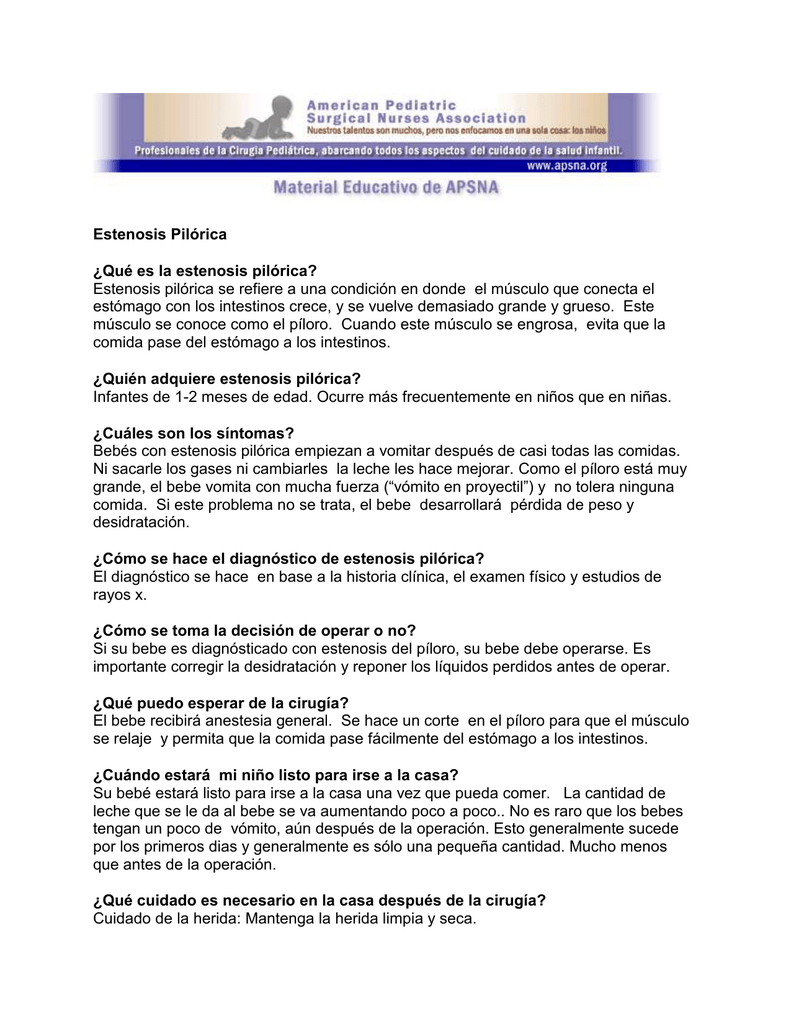 Estenosis del piloro sintomas