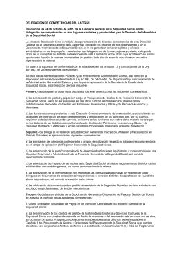 DELEGACIÓN DE COMPETENCIAS DEL LA TGSS