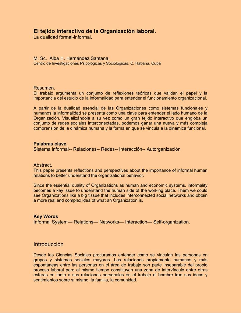 El tejido interactivo de la Organización laboral. La dualidad formal ...