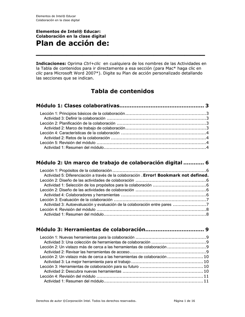 Plan de acción de colaboración