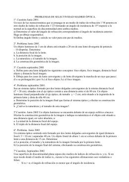 PROBLEMAS DE SELECTIVIDAD MADRID ÓPTICA