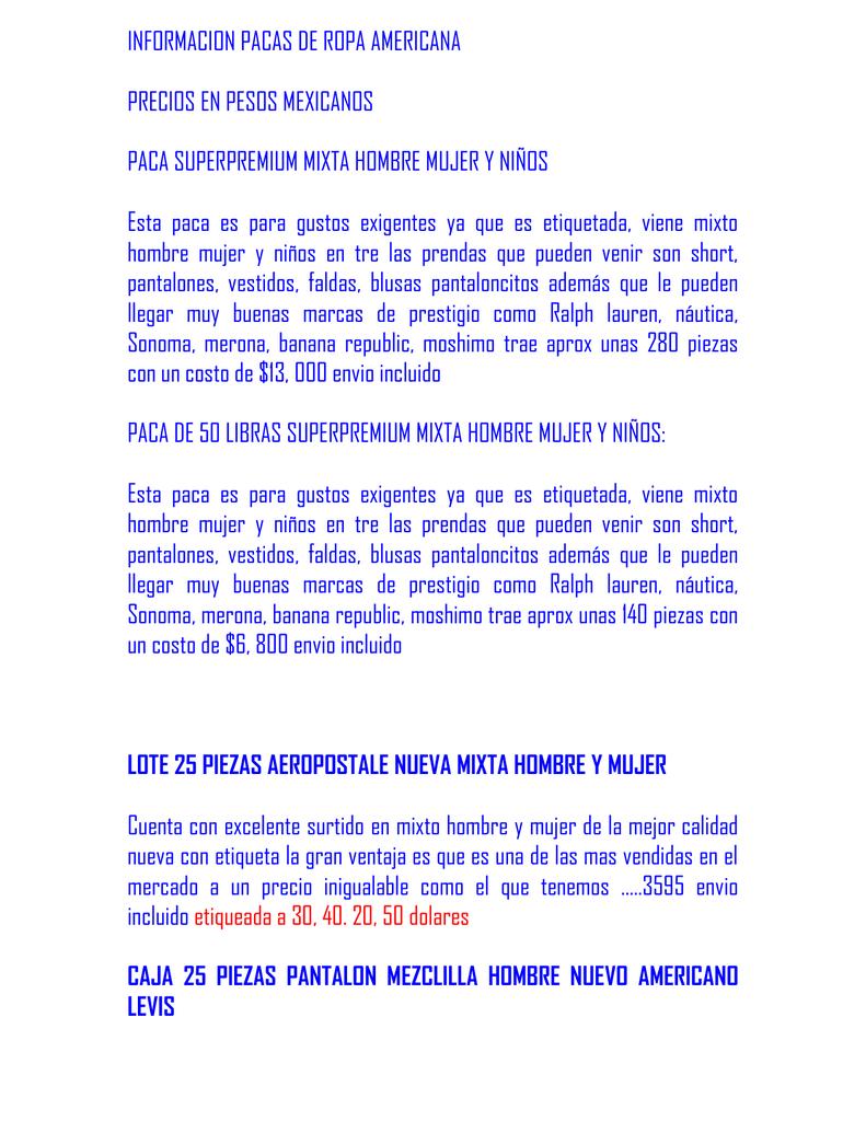 e9c12b99f INFORMACION PACAS DE ROPA AMERICANA PRECIOS EN PESOS MEXICANOS