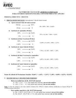 CÁLCULO DE FACTORES PARA APORTES PATRONALES