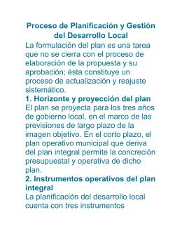Proceso de Planificación y Gestión del Desarrollo Local