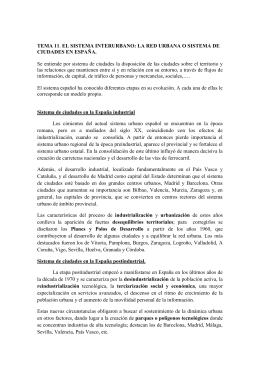 la red urbana o sistema de ciudades en España