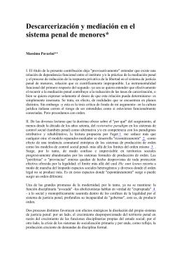 Descarcerización y mediación en el sistema penal de menores*