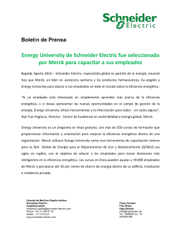 Energy University de Schneider Electric fue seleccionada por Merck