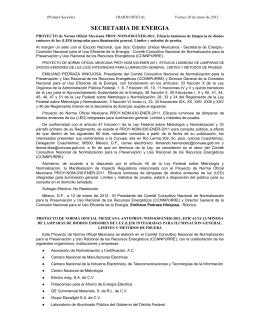 Proyecto de Norma Oficial Mexicana PROY-NOM-030-ENER