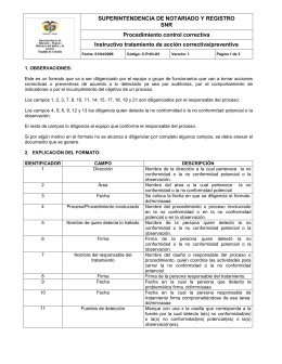 Instructivo tratamiento de acción correctiva/preventiva