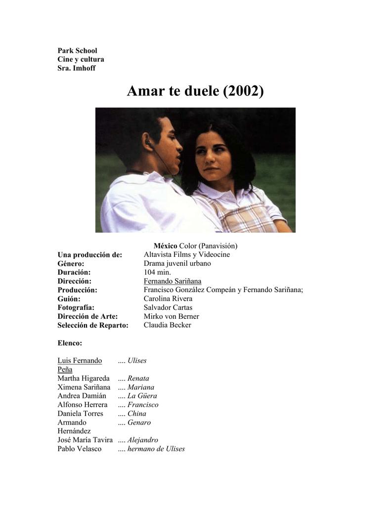 Amar Te Duele Full Movie amar te duele (2002)
