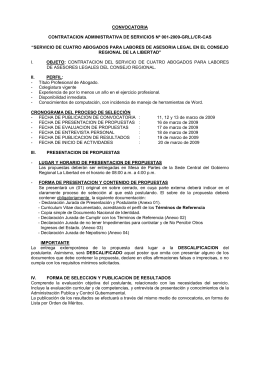 SERVICIO. ABOGADO PARA LABORES DE ESPECIALISTA LEGAL