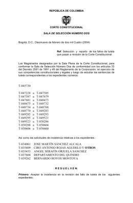 REPUBLICA DE COLOMBIA - Corte Constitucional de Colombia