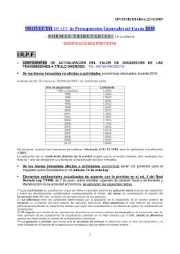 PROYECTO DE LEY de Presupuestos Generales del Estado 2001