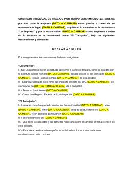 Contrato individual de trabajo por tiempo determinado for Formato de contrato de trabajo indefinido