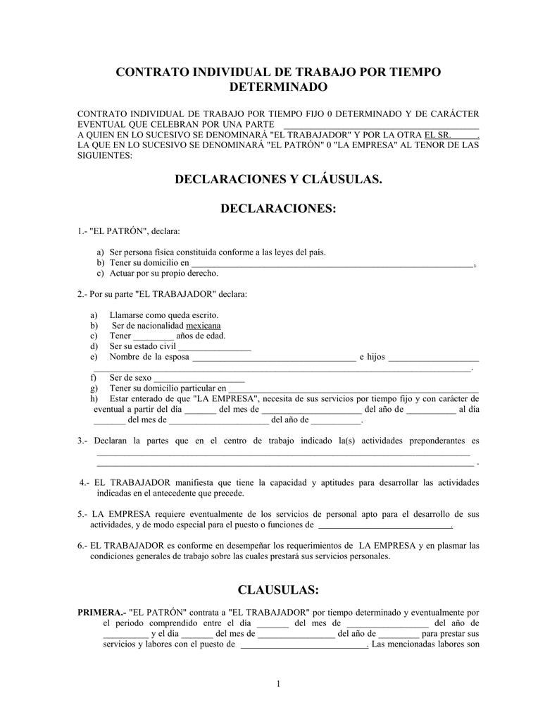 Contrato individual de trabajo por tiempo determinado Contrato de trabajo indefinido servicio hogar familiar
