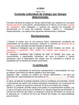 Ejemplo de contrato individual de trabajo por tiempo for Plantilla de contrato indefinido