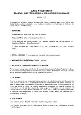Programa Trabajo, cuestión agraria y organizaciones sociales. 2015.
