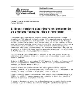 Noticias Mercosur - Ministerio de Trabajo, Empleo y Seguridad Social