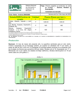 Estado/DDR/Centros de Calidad Precio (Pesos por ton.)