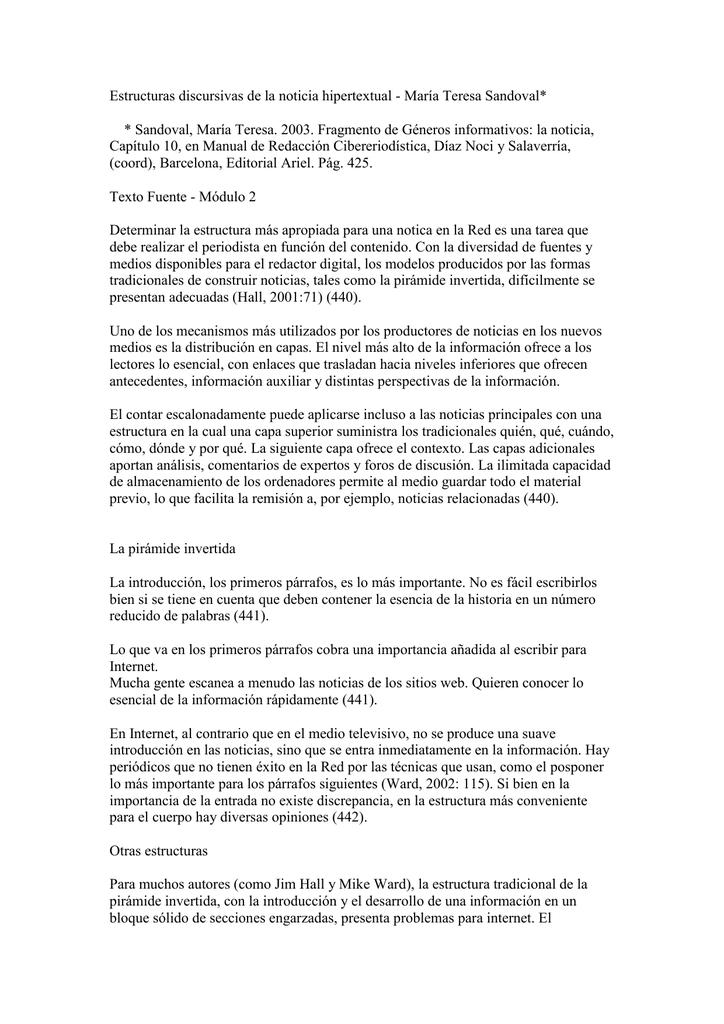 Estructuras Discursivas De La Noticia Hipertextual