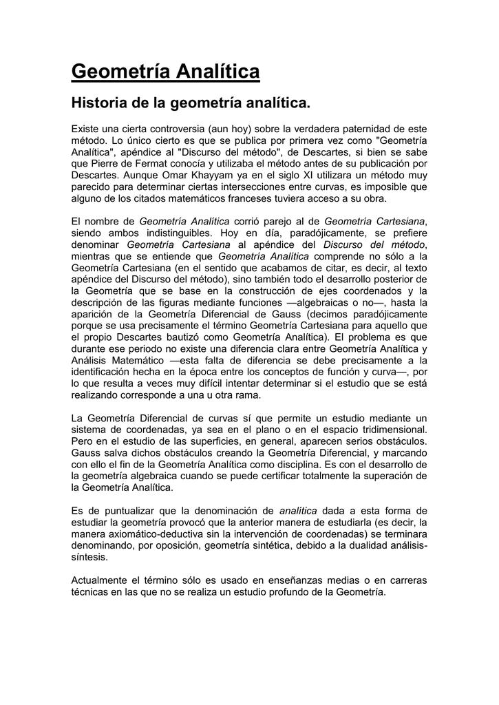Geometria Analitica Historia De La Geometria Analitica