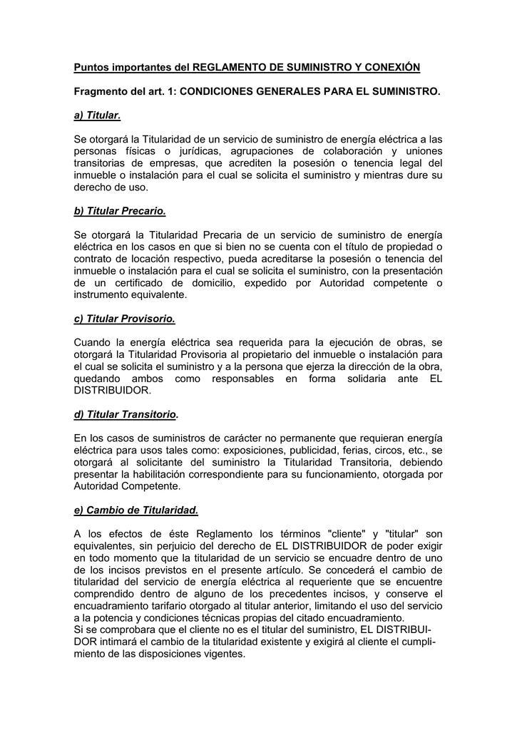 Puntos importantes del REGLAMENTO DE SUMINISTRO Y