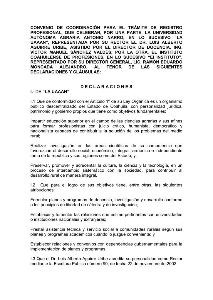 convenio de coordinación para el trámite de registro profesional