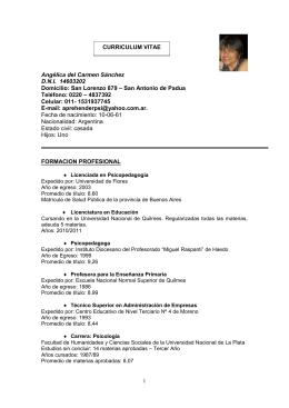CURRICULUM VITAE  – San Antonio de Padua Domicilio: San Lorenzo 879