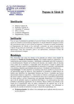 Programa de Cálculo 20 Identificación Materia: Cálculo 20