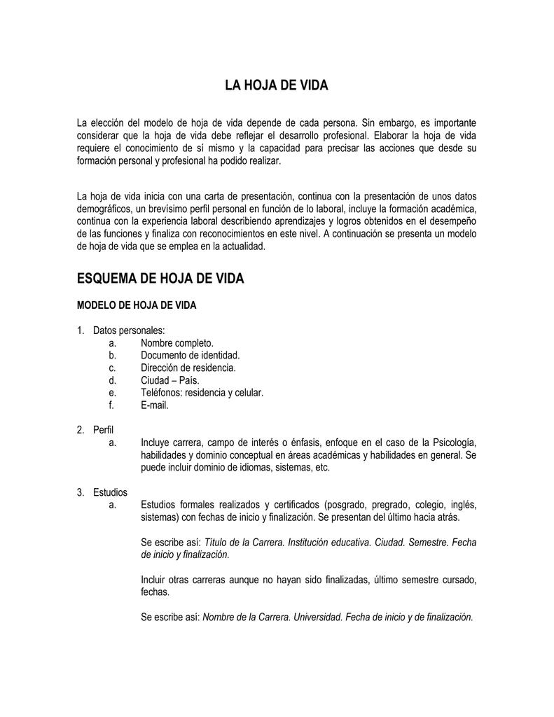 Modelo de Hoja de Vida - Pontificia Universidad Javeriana, Cali