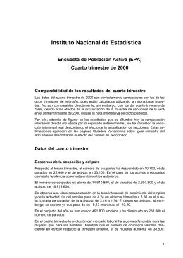 Instituto Nacional de Estadística  Encuesta de Población Activa (EPA)
