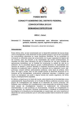 FONDO MIXTO CONACYT-GOBIERNO DEL DISTRITO FEDERAL