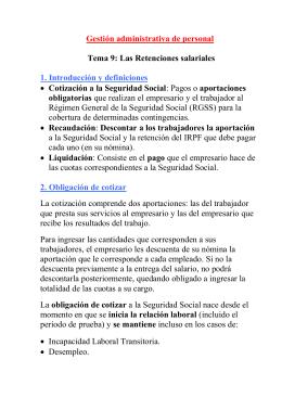 Gestión administrativa de personal  Tema 9: Las Retenciones salariales obligatorias
