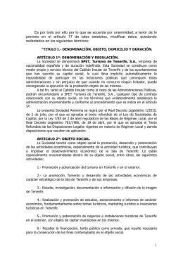Estatuos de SPET, TURISMO DE TENERIFE, S.A.